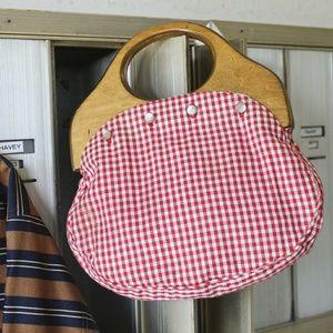 Vintage Gingham handag Genuine Wood handle purse